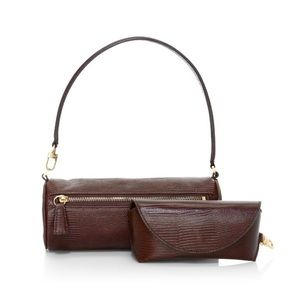 STAUD suzy leather shoulder bag with glass case